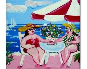 Shoreline Beach Divas Girlfriends Fun Whimsical Folk Art Ceramic Tile