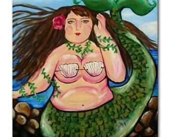Big Mermaid Fun Whimsical Folk Art Ceramic Tile