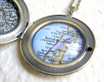 Lebanon Map Locket Necklace - Large Size featuring Beirut,Tripoli, Zahle, and more - Custom Map Jewelry