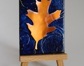 Copper Oak Leaf metal art card with easel
