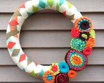 Spring Wreath - Geometric Patterned Fabric Decorated w/ Felt Flowers. Summer Wreath - Mother's Day Wreath - Felt Wreath -Tropical Wreath