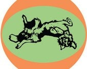 "Border Collies 2"" round retro STICKERS of 5 classic border collie poses by Nicole Straburg"