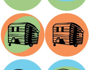 "Vintage Campers - 2"" round retro STICKERS of Vintage campers by Nicole Straburg"