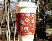 Fabric coffee cozy / cup sleeve / coffee sleeve  - Pretty Flowers on Rust