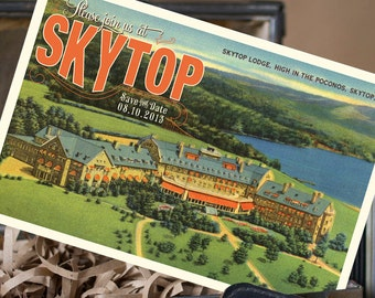 Vintage Travel Postcard Save the Date (Skytop Resort, PA) - Design Fee
