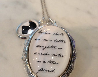Jane Austen Necklace, Jane Austen Quote, Quote Necklace, Emma Prose, When Shall We See, A Better Daughter, Locket Necklace, Quote Locket