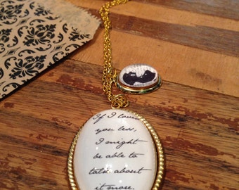Jane Austen Emma Prose If I loved you less...Necklace