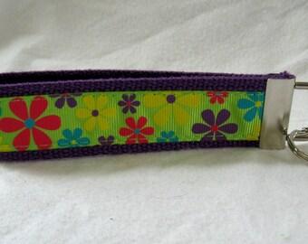 Funky Flowers Key Fob Bold Floral Key Chain Groovy Keychain Wristlet PURPLE
