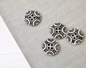 Porcelain Buttons in Black and White - Four Buttons with Geometric Patterning