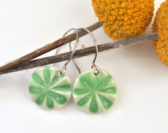 Lime Green Pinwheels - Porcelain Earrings with Sterling Silver Ear Wires