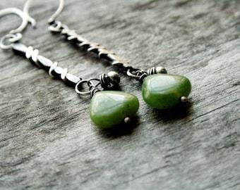 Green Stone Earrings, Green Jasper Earrings, Long Silver Earrings, Sterling Silver Statement,Beaded Earrings,Nature Inspired, Rustic