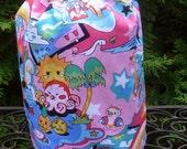 Kawaii drawstring bag, knitting project bag, WIP bag, game tile bag ,Tako Wako in pink, Suebee