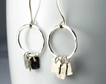 Silver Hoops and Tabs Earrings