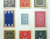 Nine Vintage Playing Cards Red White and Blue Backs