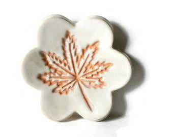 Leaf Stamp ring dish or teaspoon rest with gift box, glazed in orange and white, ready to mail
