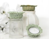 Lace Tealight Candle Holders, Sage & Olive Green Home Decor in Shabby Elegance, Set of 3 Tea Light Candle Holders