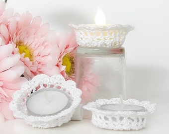 White Lace Tealight Candle Holders, Shabby Elegant Home Decor, Set of 3 Tea Light Candle Holders