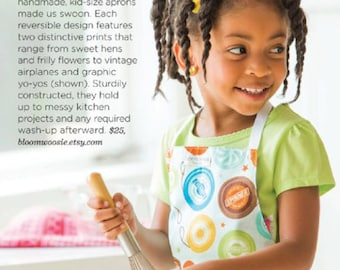 Featured in Family Fun Magazine, Kids Apron, Children's Apron, Girl's Apron, Apron for Kids, Reversible Apron for Kids