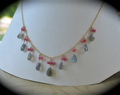 Labradolite and Ruby Dangling Necklace