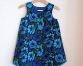 Blue & Turquoise Floral Baby Toddler Girls Dress - Size 4T - Simple Elegant Garden Party Dress, Flower Girl, Summer Wedding, Childrenswear
