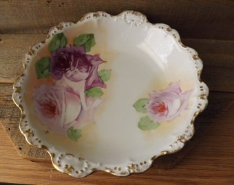Antique Master Berry Bowl, Antique Bowl, Pink Roses, LDBC Flambeau, Limoges France, Hand Painted, Antique Limoges