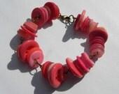 Pink Sherbert Vintage Button Bracelet