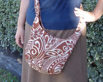Purse Across the Body in Polynesian Brown and Creme Tribal Print Cotton PLUS SIZE