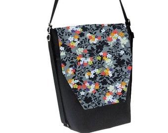 Backpack Convertible Bag - Shoulder Bag - Cross Body Purse - iPad Purse -3 in 1 bag- REMOVABLE FLAP - Borsa Bella - Urban Garden Fabric