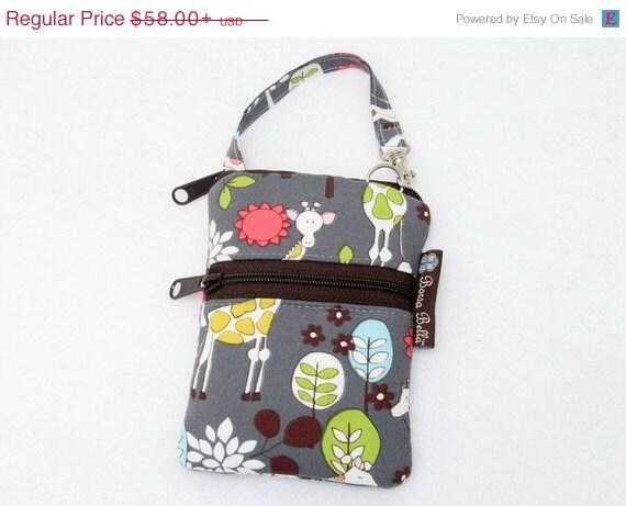 ON SALE Cell Phone Case Small Crossbody Bag iPhone Shoulder Bag Cross Body Purse - Short Zip Cell Phone Bag - Extra Zipper Pocket - Giraffe
