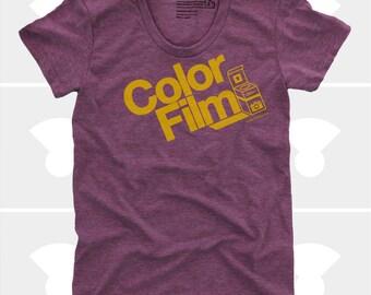 Color Film Women's TShirt, Tee Shirt, Womens Top, S,M,L,Xl, Film, Camera, Typography, Photography, Plum Shirt (4 Colors) TShirt for Women