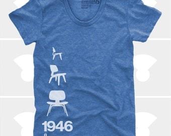 Women's TShirt Eames Plywood Chair 1946, Womens Top, Mid Century Modern, Eames Lounge Chair Shirt, Blue (4 Colors) T-Shirt for Women