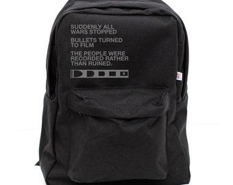 Backpack: Film v. Bullet, Rucksack, School Backpack,Typography, Nylon, Hipster Backpack, Black Backpack, Men Backpack, Women Backpack