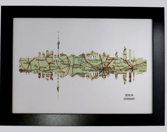 Berlin City Germany Skyline Print with vintage map