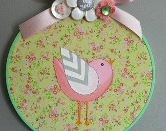 Bird painting NURSERY wall ART hoop art childrens room decor hand painted hand stitched BABY shower gift