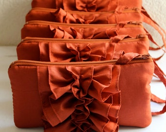Set Of 5 Burnt Orange Bridesmaid Ruffle Wristlets for Fall Wedding