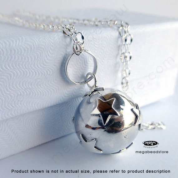 16mm Maternity Necklace Mexican Bola Harmony Ball Star 36 inches Chain 925 Sterling Silver P68CH67