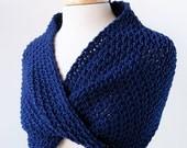 Women's Fashion Accessories - Hand-Knit Scarf Wrap with a Twist - Merino Wool - Navy Blue - ElenaRosenberg