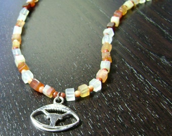 CLEARANCE !!! Longhorn Football Carnelian and Sterling Silver Necklace