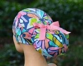 Womens Perfect Fit Ponytail Surgical Scrub Hat Cap- Geofabulous
