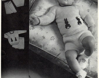 Babys Jumper Suits 1940s Vintage Knitting Pattern pdf  Up to 12 months 19 inch chest