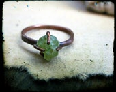 Raw Peridot ring, Copper prong setting Forged metalwork Rustic August birthstone ring - Size 7