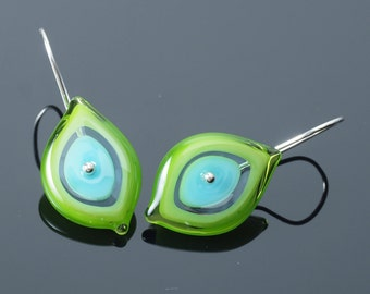 Earrings for Nature Lovers - Gift for Gardener, Glass Leaf Earrings in Green and Turquoise