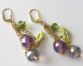 Beaded earrings Lavender and Lime Crystals Lime Green Freshwater Stick Pearls Beaded jewelry Beaded earrings