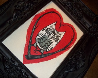 Sweet Love Owl on Heart Twigs  5x7 Art Print by Agorables Romantic Bird on a Stick