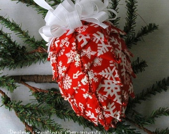 Wired Ribbon Quilted Red Snowflake Ornament Kit and Pattern