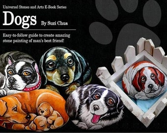 Dog rockpainting Ebook with step by step instructions and photographs