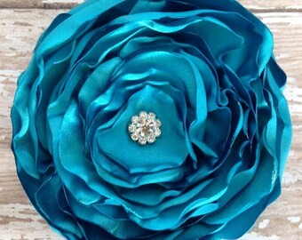 Satin Hair Flower, Turquoise Flower, Headband, Layered Hair Fascinator, Wedding, Bridesmaids, Little Girl, Hair Accessories, Boho Chic