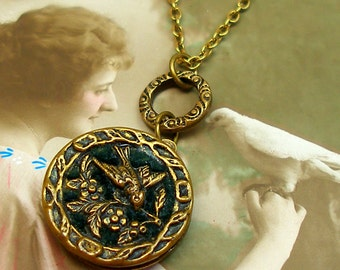 Velvet Antique BUTTON necklace, 1800s Victorian BIRD on brass. Antique button jewelry, jewellery.