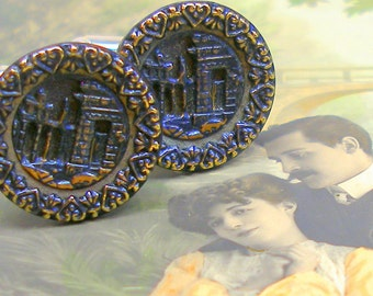 Ancient Ruins BUTTON cuff links, Victorian Architectural buttons on silver. Antique Button Jewelry.
