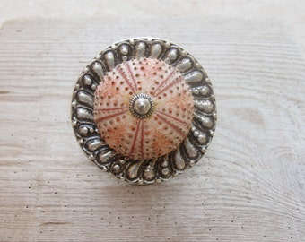 Big Pink Sea Urchin Ring Large Cocktail ring Beach Jewelry